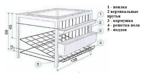 Чертеж клетки для бройлеров с размерами