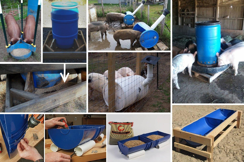 Изготовление корыта для свиней из пластиковой бочки